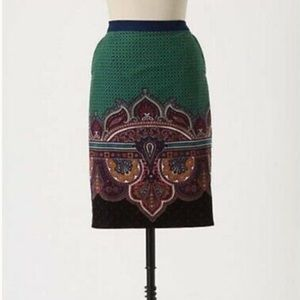 "NWT- Rich Green Paisley ""Wall Street"" Pencil Skirt"